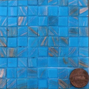 Cerulean 10MG14 metallic glass mosaic tiles