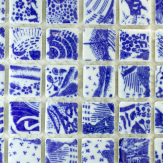 Glazed Porcelain Tiles in blue willow china pattern