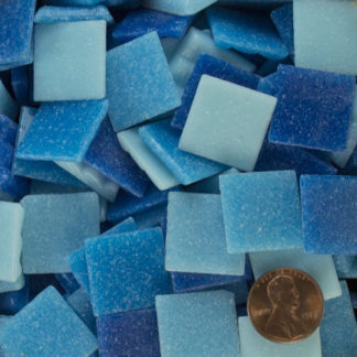 Cyan Blue Assortment ab02 vitreous glass mosaic tiles by Hakatai are sold by the pound (approximately 145+ loose pieces) for use in mosaic art.