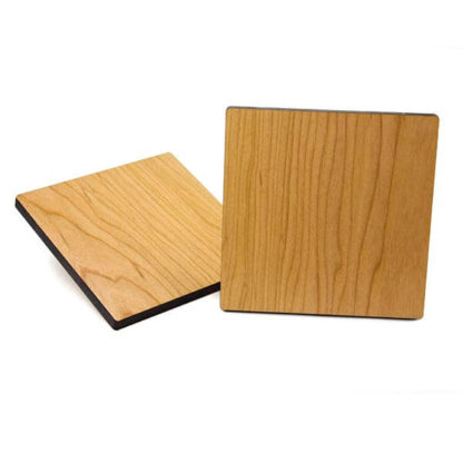 "Square Coaster Base 4-inch across, 5/16"" thick, with lacquer finished back."