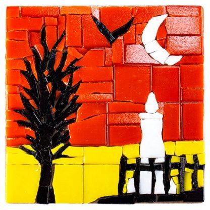 glass mosaic tile coaster graveyard halloween